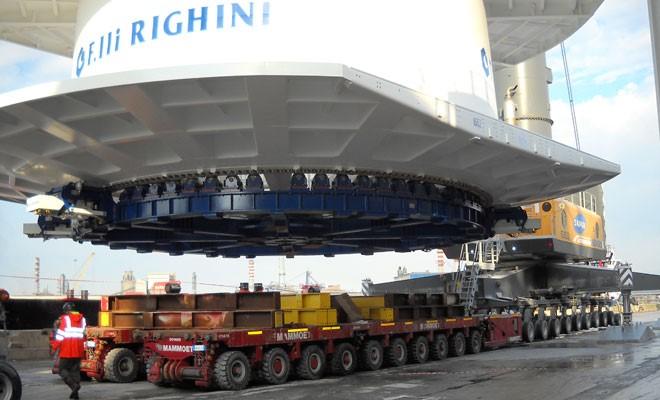 Impianto offshore di Righini imbarcato da Sapir